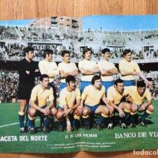 Coleccionismo deportivo: POSTER UD LAS. PALMAS, LA GACETA DEL NORTE, AÑOS 70. Lote 116184259