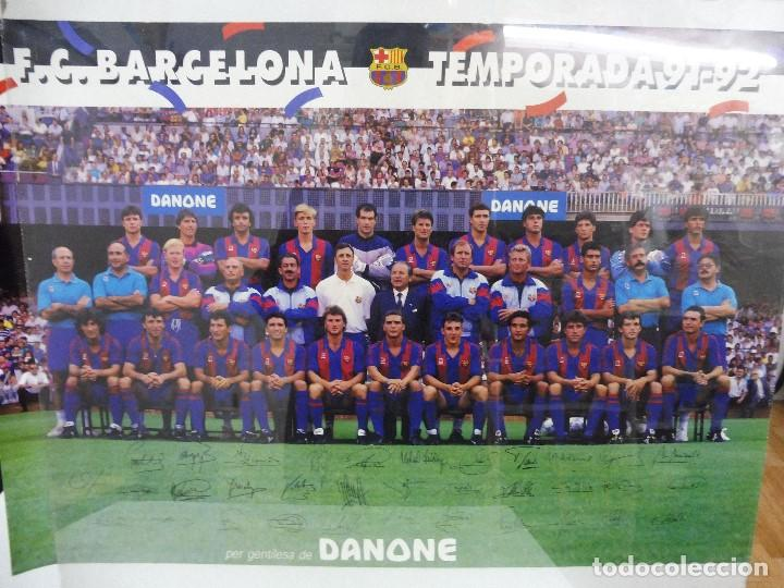 PÓSTER GRANDE DANONE F.C.BARCELONA TEMPORADA 91-92 FIRMAS IMPRESAS 63X43,5 CM (Coleccionismo Deportivo - Carteles de Fútbol)