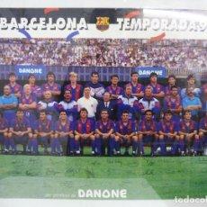 Sammelleidenschaft Sport - Póster grande Danone F.C.Barcelona temporada 91-92 firmas impresas 63x43,5 cm - 142694264
