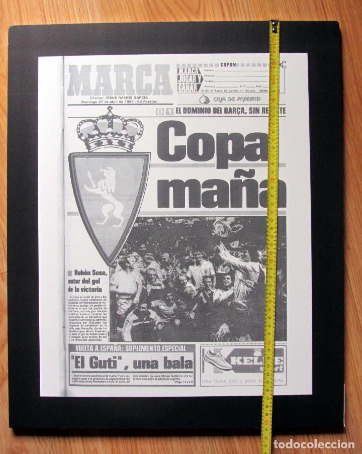 CUADRO PORTADA MARCA REAL ZARAGOZA CAMPEON COPA DEL REY 1986 EN POLIESPAN 42X51X1 (Coleccionismo Deportivo - Carteles de Fútbol)