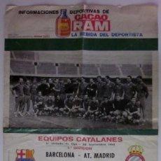 Coleccionismo deportivo: CARTEL FUTBOL RAM - JORNADA LIGA 64/65: C.F. BARCELONA - AT. MADRID Y R.C.D. ESPAÑOL - CORDOBA. Lote 117023859