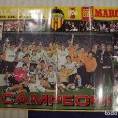 Coleccionismo deportivo: VALENCIA CF CAMPEON COPA DEL REY 1999 - SUPER POSTER HOMENAJE DE MARCA - 98 X 68 CM. Lote 118935043