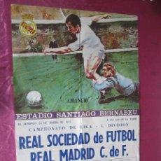 Coleccionismo deportivo: GRAN CARTEL DE FUTBOL REAL SOCIEDAD REAL MADRID CAMPEONATO DE LIGA 1978 BERNABEU. Lote 119074479