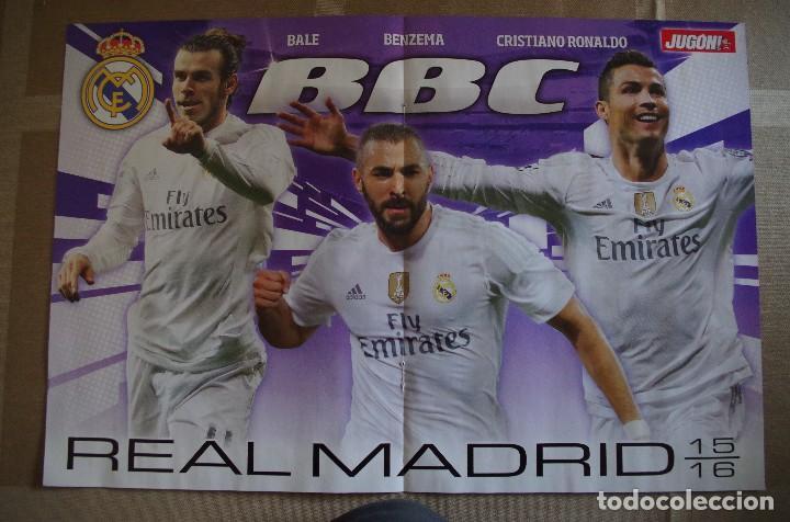 POSTER R. MADRID BBC 2015-2016 15/16 - DETRAS BARCELONA MSN 2015-16 (Coleccionismo Deportivo - Carteles de Fútbol)