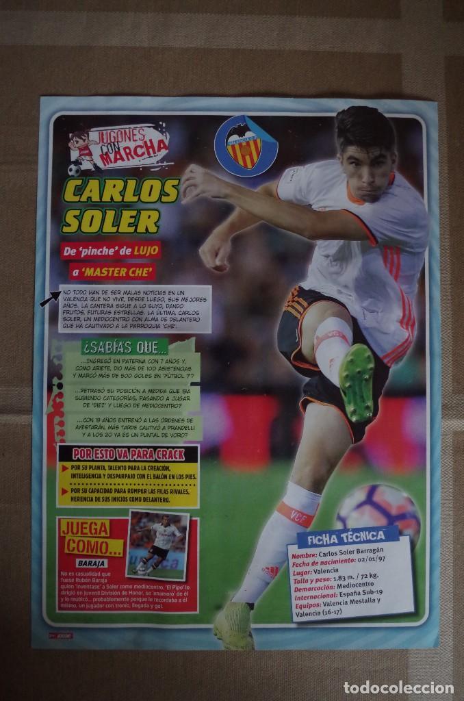 CARLOS SOLER VALENCIA CF - LAMINA POSTER 30X22 CM - JUGONES CON MARCHA (Coleccionismo Deportivo - Carteles de Fútbol)