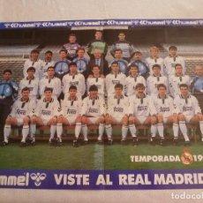 Coleccionismo deportivo: (RM) POSTER (52 X 39) PLANTILLA REAL MADRID TEMPORADA 92-93. Lote 120782327