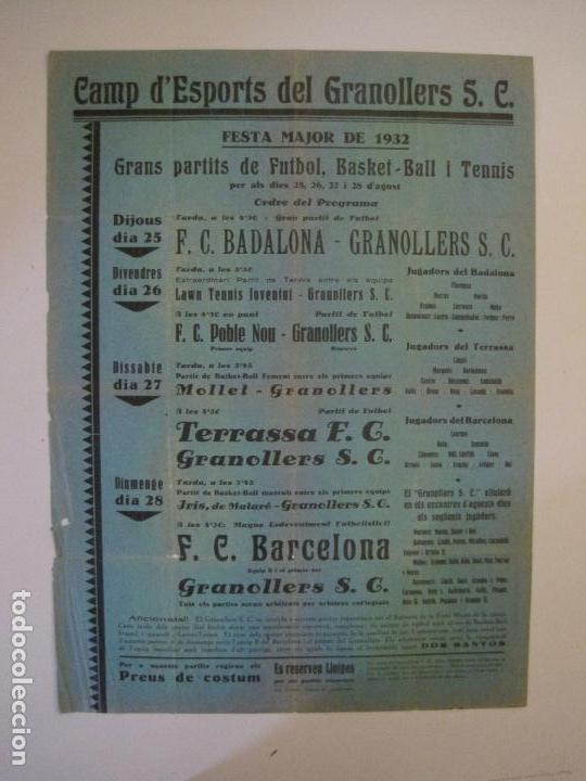 Coleccionismo deportivo: FUTBOL- GRANOLLERS S.C- CONTRA F.C. BARCELONA- FESTA MAJOR DE 1932 PARTITS -VER FOTOS-(V-14.536) - Foto 2 - 121157083