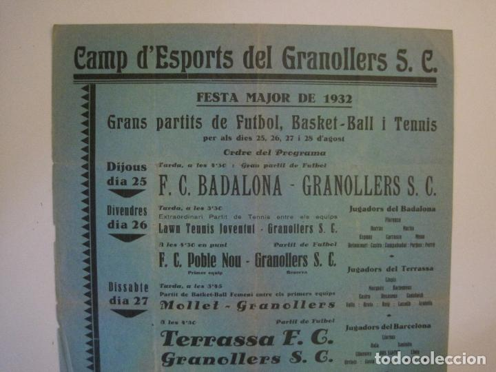 Coleccionismo deportivo: FUTBOL- GRANOLLERS S.C- CONTRA F.C. BARCELONA- FESTA MAJOR DE 1932 PARTITS -VER FOTOS-(V-14.536) - Foto 3 - 121157083