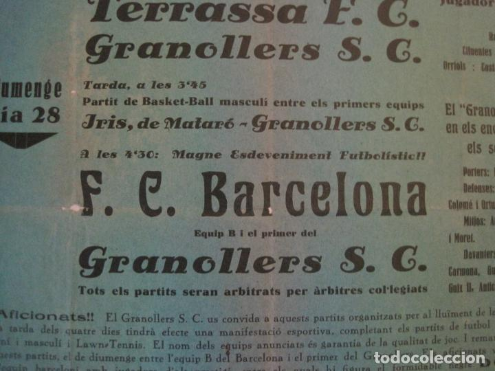 Coleccionismo deportivo: FUTBOL- GRANOLLERS S.C- CONTRA F.C. BARCELONA- FESTA MAJOR DE 1932 PARTITS -VER FOTOS-(V-14.536) - Foto 6 - 121157083