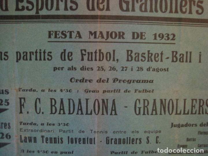 Coleccionismo deportivo: FUTBOL- GRANOLLERS S.C- CONTRA F.C. BARCELONA- FESTA MAJOR DE 1932 PARTITS -VER FOTOS-(V-14.536) - Foto 7 - 121157083
