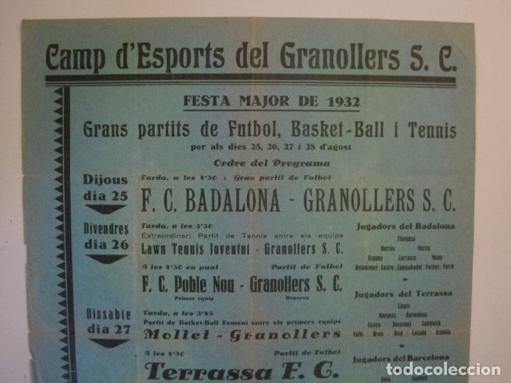 Coleccionismo deportivo: FUTBOL- GRANOLLERS S.C- CONTRA F.C. BARCELONA- FESTA MAJOR DE 1932 PARTITS -VER FOTOS-(V-14.536) - Foto 8 - 121157083