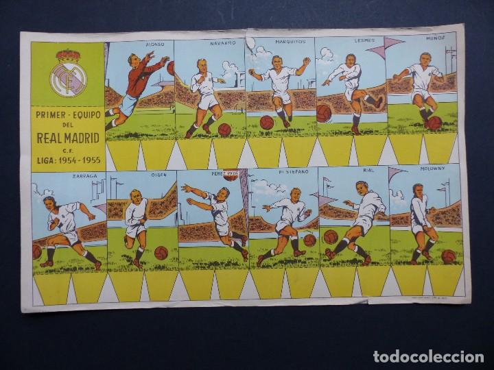 REAL MADRID - PRECIOSO CARTEL-RECORTABLE - LIGA FUTBOL 1954-1955 - DI STEFANO, MUÑOZ, MOLOWNY (Coleccionismo Deportivo - Carteles de Fútbol)