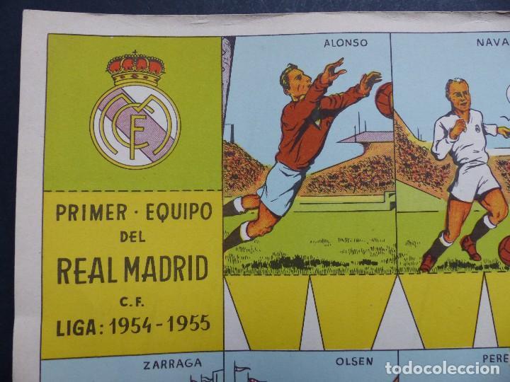 Coleccionismo deportivo: REAL MADRID - PRECIOSO CARTEL-RECORTABLE - LIGA FUTBOL 1954-1955 - DI STEFANO, MUÑOZ, MOLOWNY - Foto 4 - 121864583