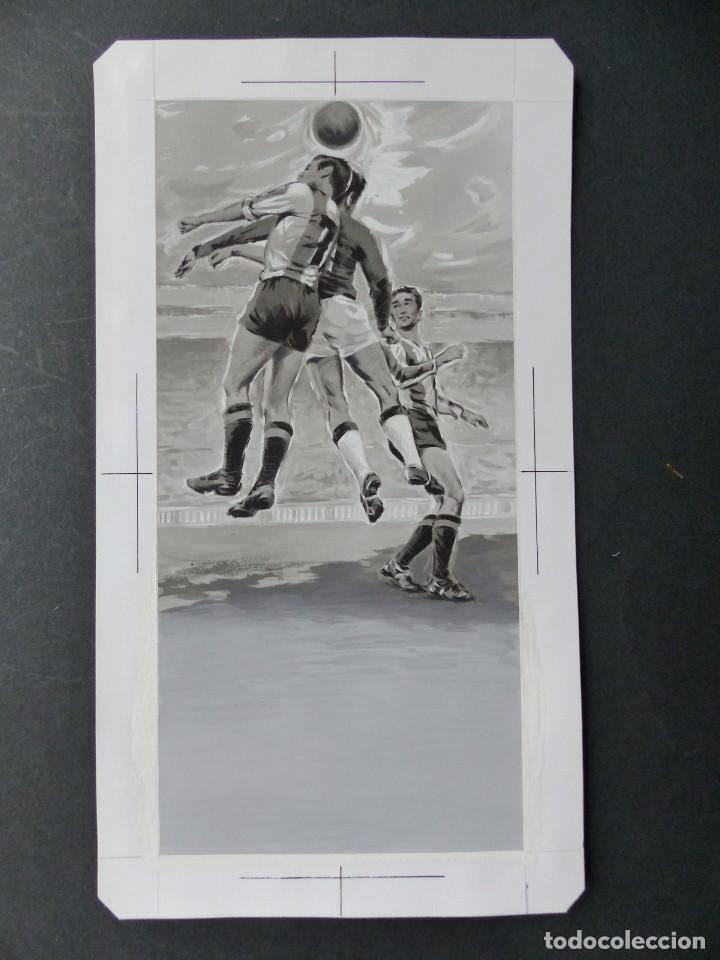 FUTBOL - PRECIOSO ORIGINAL PINTADO A MANO - LITOGRAFIA ORTEGA VALENCIA - AÑOS 1950-60 (Coleccionismo Deportivo - Carteles de Fútbol)