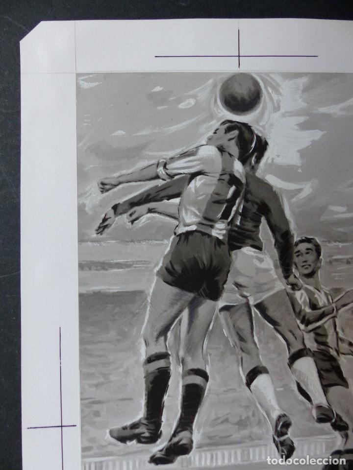 Coleccionismo deportivo: FUTBOL - PRECIOSO ORIGINAL PINTADO A MANO - LITOGRAFIA ORTEGA VALENCIA - AÑOS 1950-60 - Foto 2 - 121865175