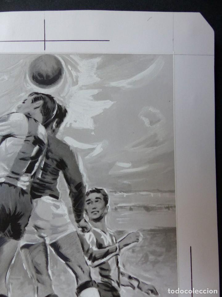 Coleccionismo deportivo: FUTBOL - PRECIOSO ORIGINAL PINTADO A MANO - LITOGRAFIA ORTEGA VALENCIA - AÑOS 1950-60 - Foto 3 - 121865175