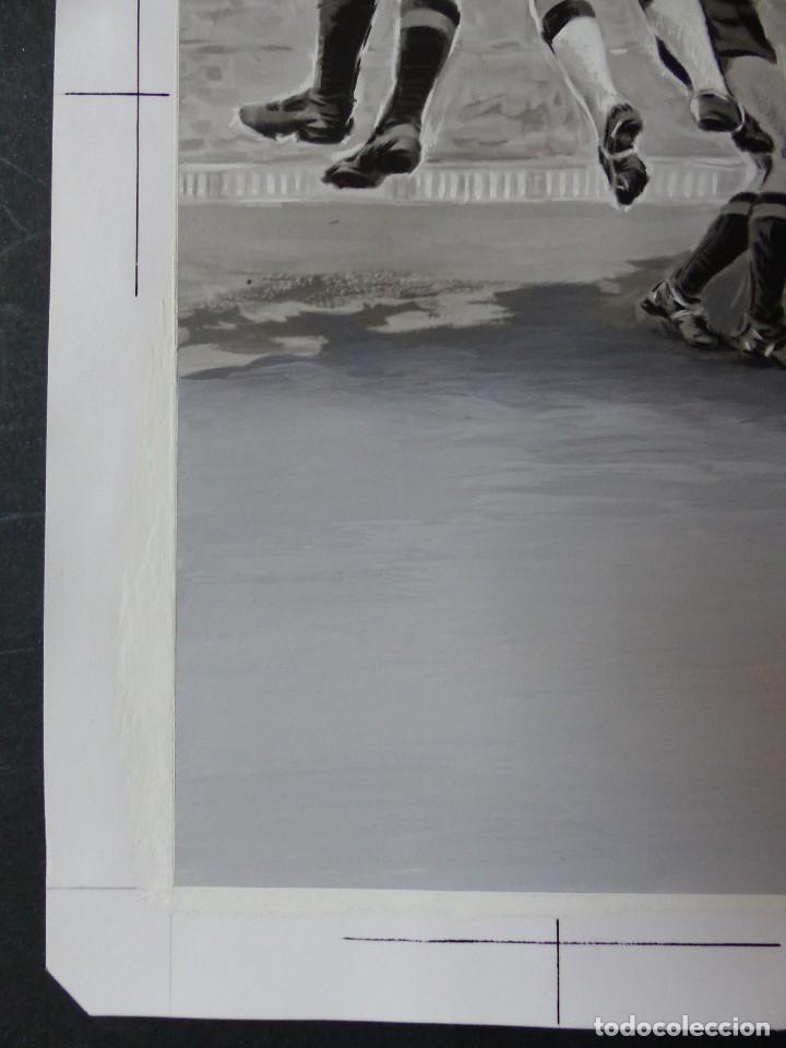 Coleccionismo deportivo: FUTBOL - PRECIOSO ORIGINAL PINTADO A MANO - LITOGRAFIA ORTEGA VALENCIA - AÑOS 1950-60 - Foto 5 - 121865175