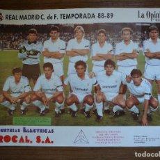 Coleccionismo deportivo: POSTER REAL MADRID TEMPORADA 88/89 BUYO, MICHEL, SCHUSTER, BUTRAGUEÑO, HUGO SÁNCHEZ. Lote 124263591