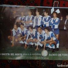 Coleccionismo deportivo: PÓSTER R.C.D. ESPAÑOL 1972-73 PERIÓDICO LA GACETA DEL NORTE DE BILBAO FÚTBOL. Lote 126100571