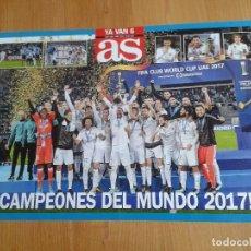 Coleccionismo deportivo: POSTER REAL MADRID -- CAMPEONES DEL MUNDO 2017 -- TAMAÑO A2 -- PERIÓDICO AS. Lote 126255159