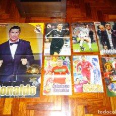 Coleccionismo deportivo: LOTE POSTERS CRISTIANO RONALDO REAL MADRID MANCHESTER UNITED PORTUGAL DON BALON CR7 REVISTA POSTER. Lote 128188607