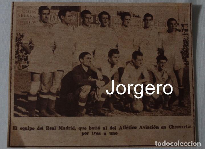 R. MADRID. ALINEACIÓN PARTIDO DE LIGA 1944-1945 EN CHAMARTÍN CONTRA AT. AVIACIÓN. RECORTE (Coleccionismo Deportivo - Carteles de Fútbol)