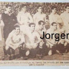 Coleccionismo deportivo: SEVILLA F.C. ALINEACIÓN PARTIDO DE LIGA 1944-1945 EN SARRIÁ CONTRA EL ESPANYOL. RECORTE. Lote 129981351
