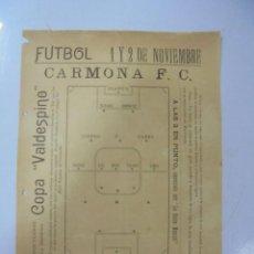 Coleccionismo deportivo: CARTEL DEPORTIVO ENTRE EL CARMONA Y EL INDUSTRIA FC. AÑOS 20. MEDIDAS: 22 X 16CM. Lote 131412118