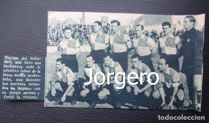 C.E. SABADELL. ALINEACIÓN PARTIDO DE LIGA 1944-1945 EN LA CREU ALTA CONTRA AT. AVIACIÓN. RECORTE (Coleccionismo Deportivo - Carteles de Fútbol)