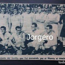 Coleccionismo deportivo: SEVILLA F.C. ALINEACIÓN PARTIDO DE LIGA 1944-1945 EN LA CONDOMINA CONTRA EL MURCIA. RECORTE. Lote 131539698