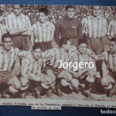 Coleccionismo deportivo: AT. AVIACIÓN. ALINEACIÓN PARTIDO DE LIGA LIGA 1944-1945 EN LA CONDOMINA CONTRA EL MURCIA. RECORTE. Lote 131539730