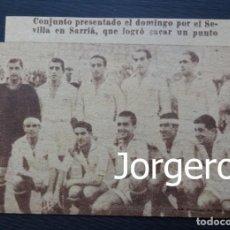 Coleccionismo deportivo: SEVILLA F.C. ALINEACIÓN PARTIDO DE LIGA 1945-1946 EN SARRIÁ CONTRA EL ESPANYOL. RECORTE. Lote 131539742
