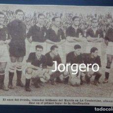 Coleccionismo deportivo: R. OVIEDO. ALINEACIÓN PARTIDO DE LIGA 1945-1946 EN LA CONDOMINA CONTRA EL MURCIA. RECORTE. Lote 131539774