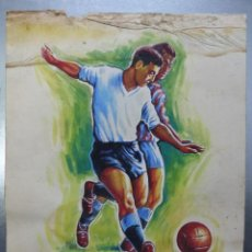 Coleccionismo deportivo: FUTBOL - PRECIOSO ORIGINAL PINTADO A MANO - AÑOS 1950. Lote 132632634