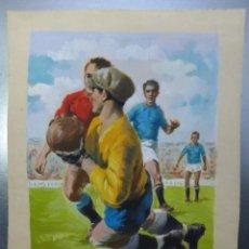 Coleccionismo deportivo: FUTBOL - PRECIOSO ORIGINAL PINTADO A MANO - AÑO 1959. Lote 132632862