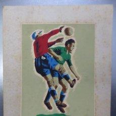 Coleccionismo deportivo: FUTBOL - PRECIOSO ORIGINAL PINTADO A MANO - AÑOS 1950. Lote 132633142