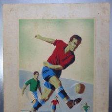 Coleccionismo deportivo: FUTBOL - PRECIOSO ORIGINAL PINTADO A MANO - AÑOS 1950. Lote 132633266