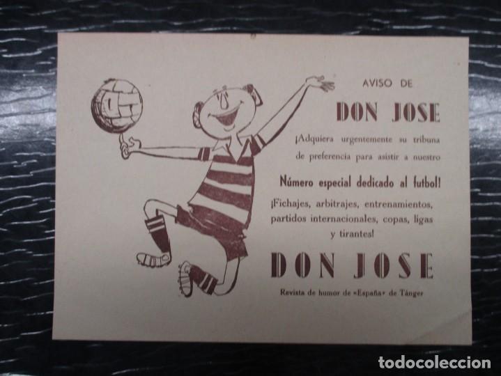 FANTASTICO CARTEL PUBLICITARIO DE LA REVISTA DON JOSE FUTBOL - 23 X 18 CM MUY BUEN ESTADO AÑOS 50 (Coleccionismo Deportivo - Carteles de Fútbol)
