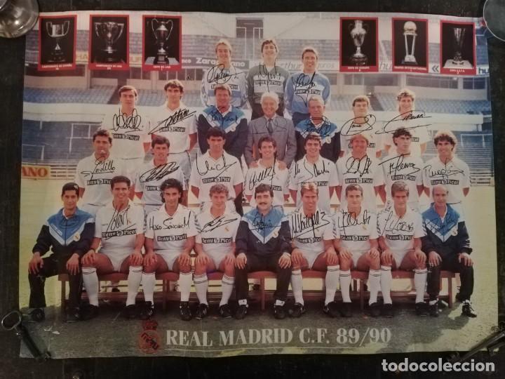 PORTER EQUIPO DE FÚTBOL DEL REAL MADRID 89 - 90 FIRMADO (Coleccionismo Deportivo - Carteles de Fútbol)