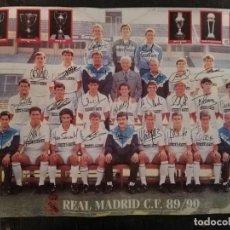 Coleccionismo deportivo: PORTER EQUIPO DE FÚTBOL DEL REAL MADRID 89 - 90 FIRMADO. Lote 133986318