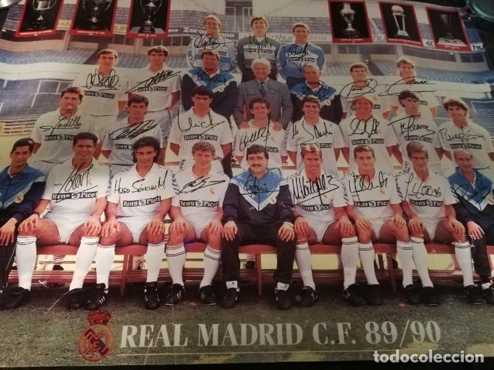 Coleccionismo deportivo: Porter equipo de fútbol del Real Madrid 89 - 90 Firmado - Foto 2 - 133986318