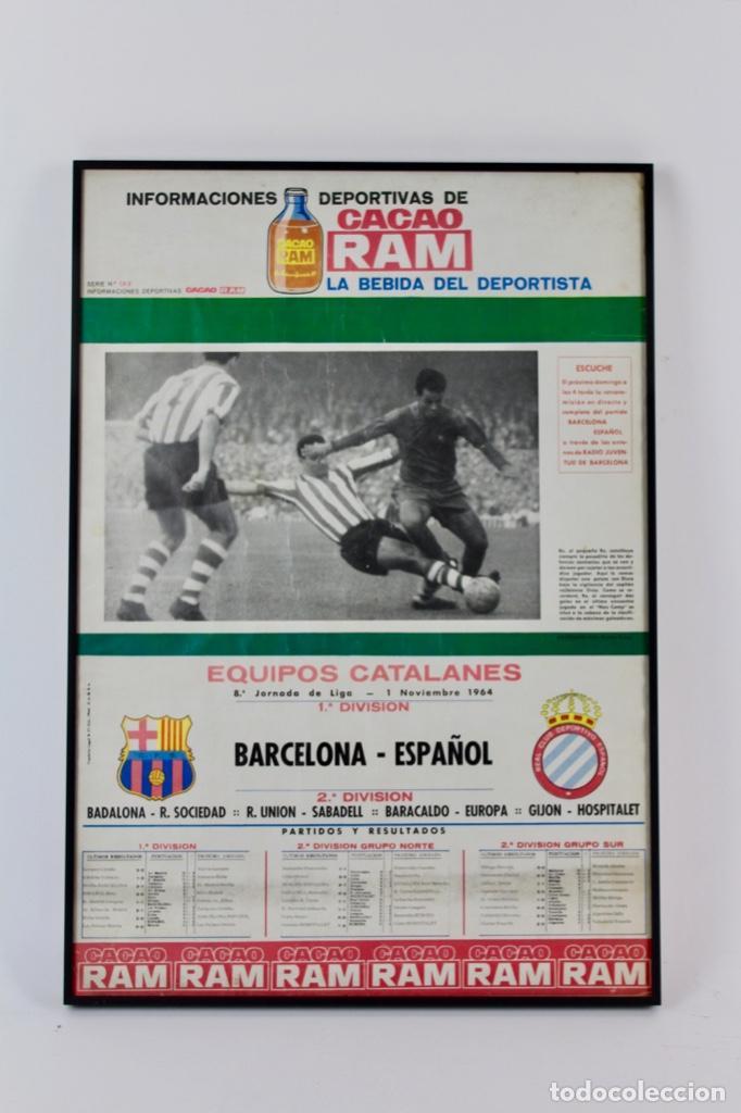 C-759 .C.F.BARCELONA. CARTEL 8ª JORNADA DE LIGA 1 NOVIEMBRE DE 1964 .BARCELONA - ESPAÑOL. (Coleccionismo Deportivo - Carteles de Fútbol)