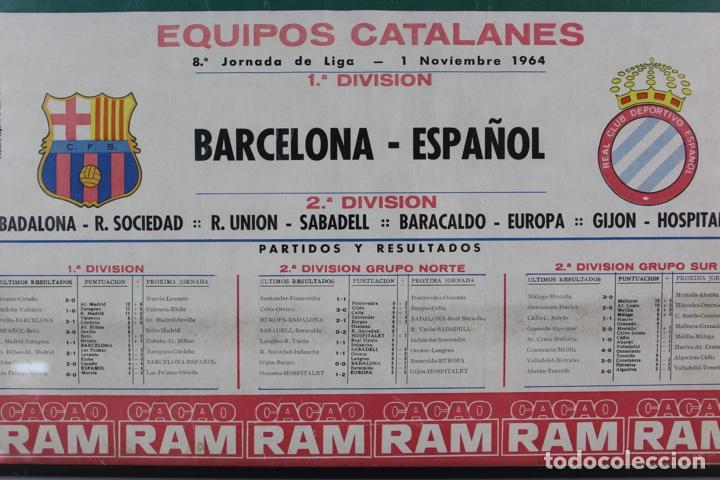 Coleccionismo deportivo: C-759 .C.F.BARCELONA. CARTEL 8ª JORNADA DE LIGA 1 NOVIEMBRE DE 1964 .BARCELONA - ESPAÑOL. - Foto 2 - 137624374
