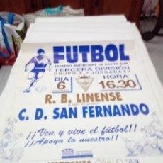 Coleccionismo deportivo: CARTEL DE FUTOL. R.B. LINENSE. - C.D. SAN FERNANDO. 6 DICIEMBRE . Lote 138542302