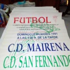 Coleccionismo deportivo: CARTEL DE FUTBOL. C.D. MAIRENA - C.D. SAN FERNANDO. 22 DICIEMBRE 1001. Lote 138542734