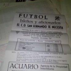 Coleccionismo deportivo: CARTEL DE TOROS. ISLEÑOS Y AFICIONADOS. EL C.D. SAN FERNANDO TE NECESITA. . Lote 138582158