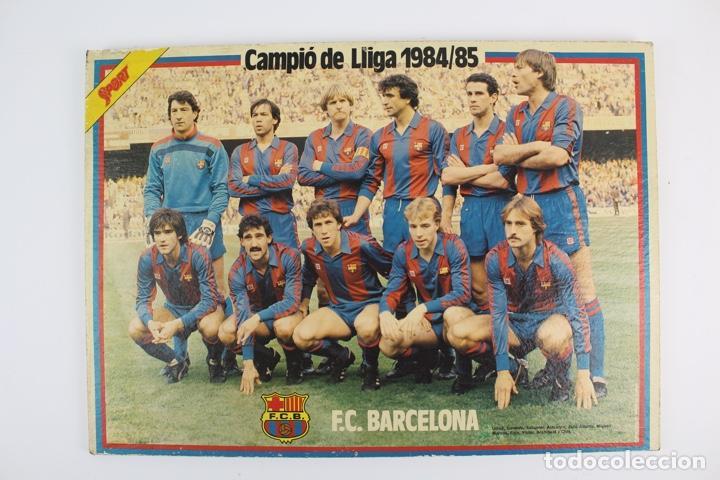 C-774 . CARTEL DEL F.C. BARCELONA. SOBRE MADERA POR LAS DOS CARAS . CAMPIO DE LLIGA 1984/85. (Coleccionismo Deportivo - Carteles de Fútbol)
