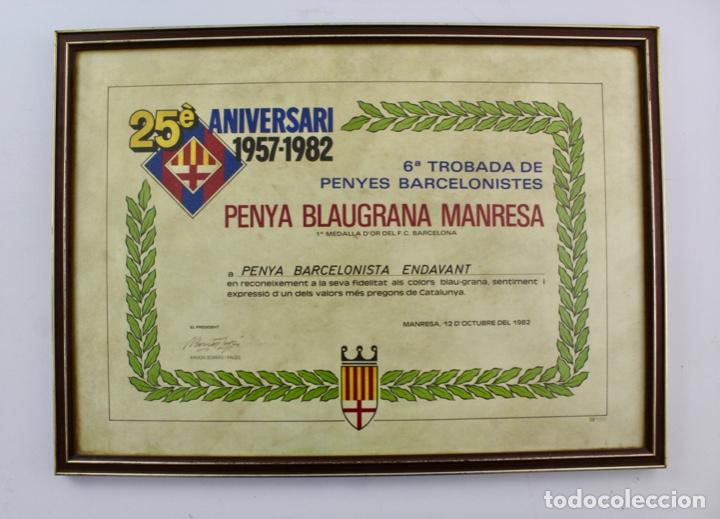 C-781. F.C.BARCELONA. CARTEL 25 ANIVERSARI 1957-1982. PENYA BLAUGRANA MANRESA. ENMARCAT. (Coleccionismo Deportivo - Carteles de Fútbol)