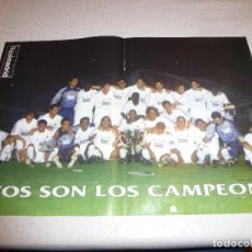 Coleccionismo deportivo: (RM)-POSTER FÚTBOL (31 X 43CM) REAL MADRID CAMPEON DE LIGA 2000-2001. Lote 140160734
