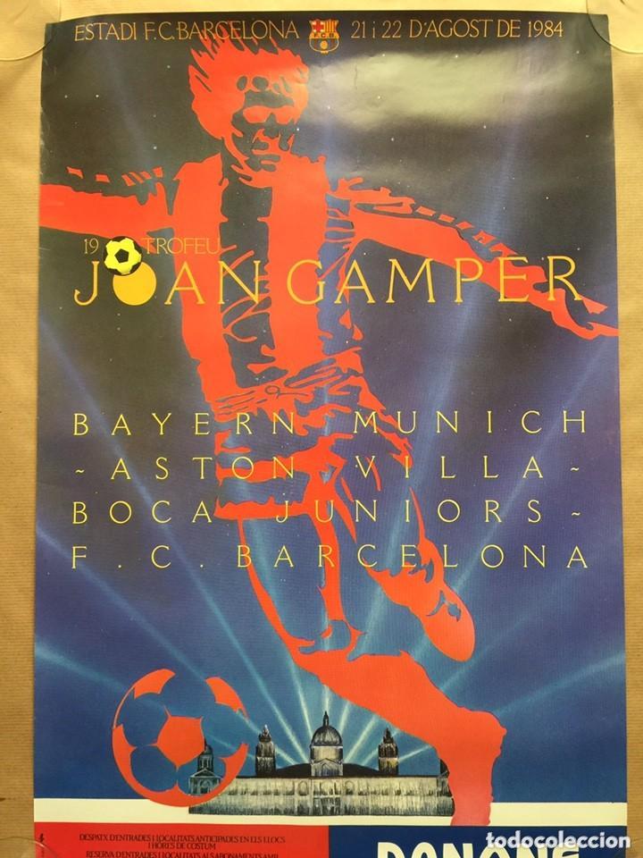 CARTEL GAMPER 1984. ASTON VILLA BAYERN BOCA JUNIOR BARCELONA (Coleccionismo Deportivo - Carteles de Fútbol)